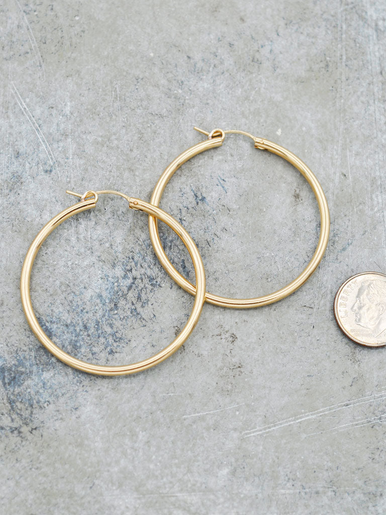 14K Goldfill Classic Hoops - 1.5""