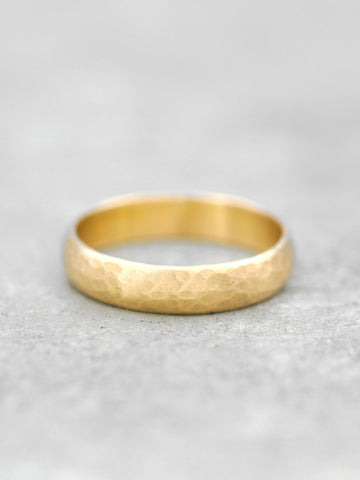14K 6mm Hammered Rounded Matte Finish Band