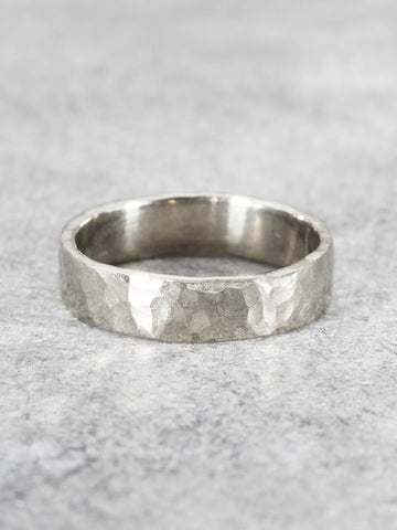 Men's 5mm Rustic Hammered Straight Band - LUNESSA
