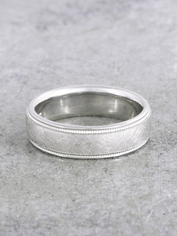 Leon Textured Milgrain Edge Ring