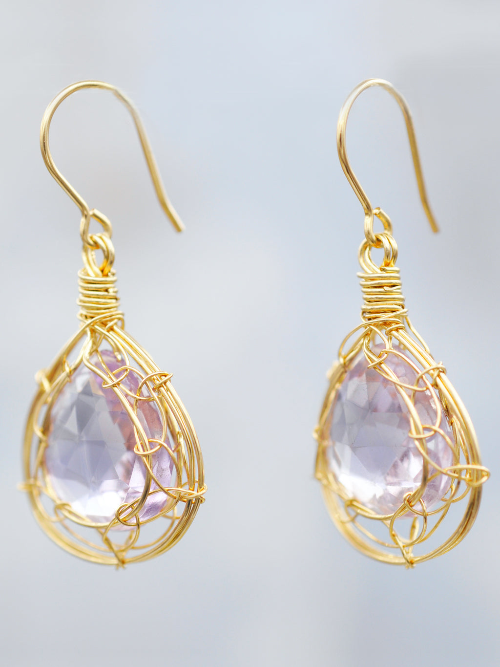 14K Goldfill Pink Amethyst Cage Frame Tear Drop Earrings