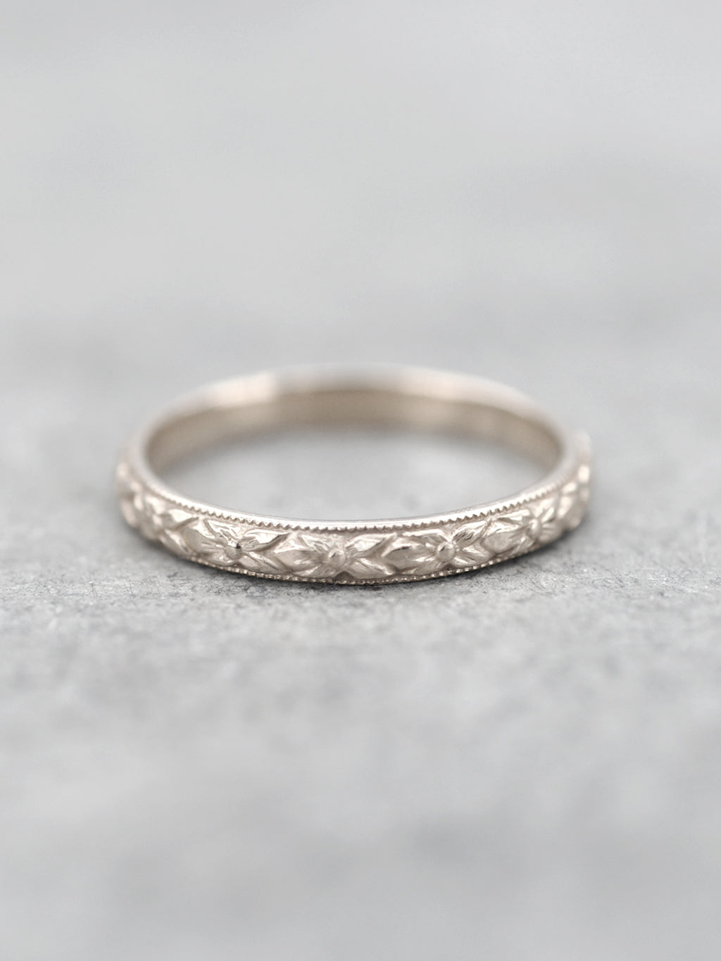 14K Antique Floral Engraved Band - White gold