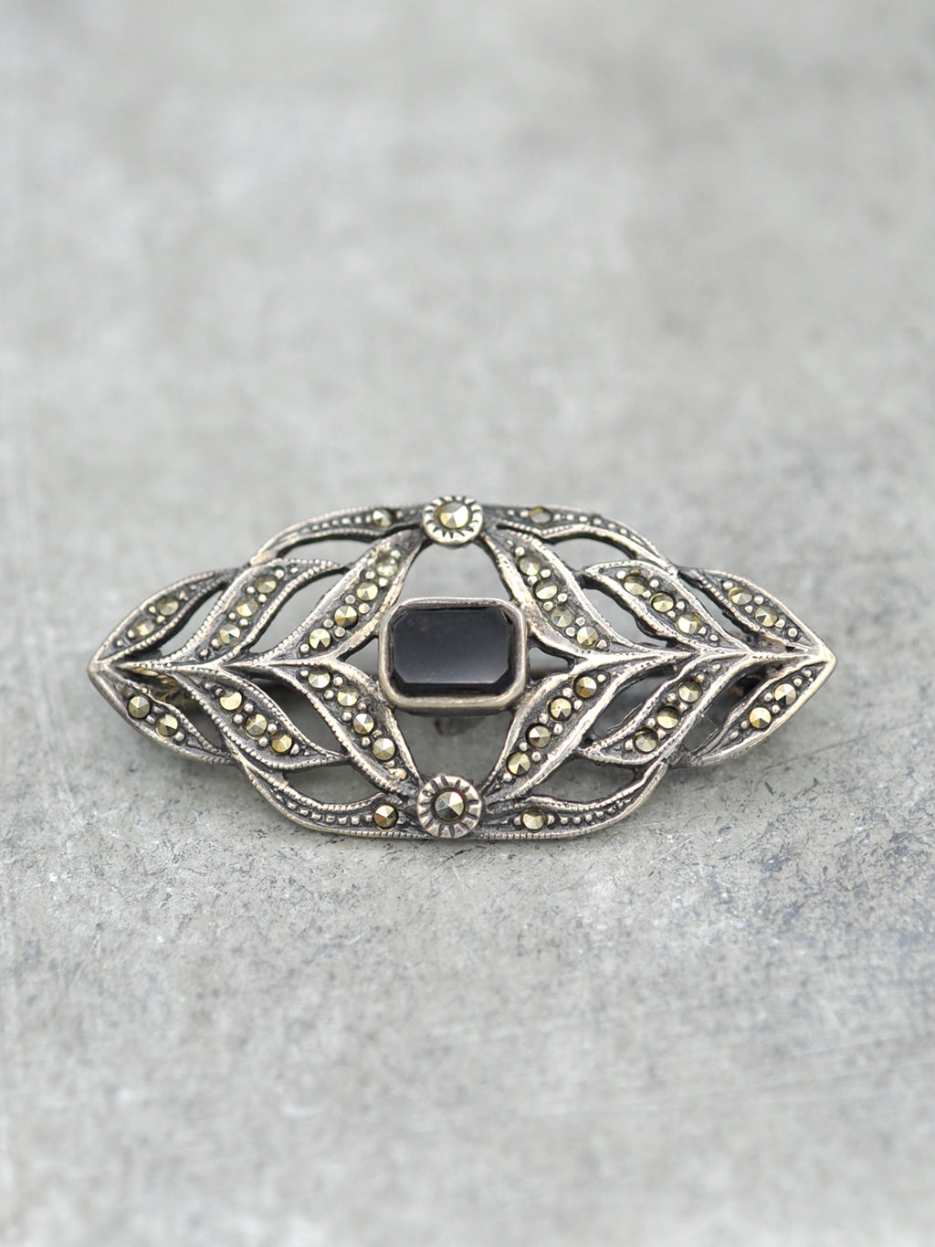 Antique Black Onyx + Marcasite Brooch