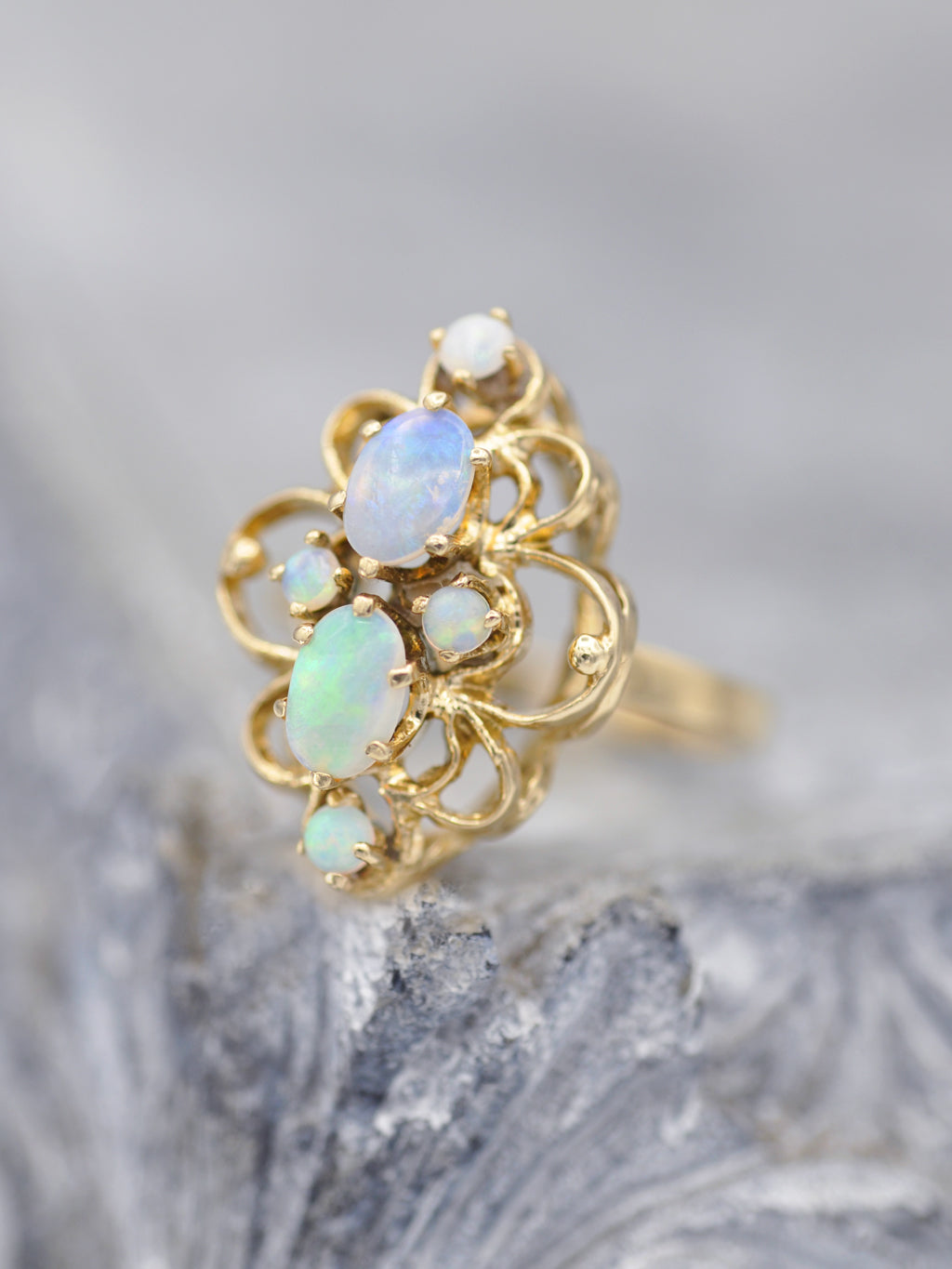 Antique Opal Marquis Ring