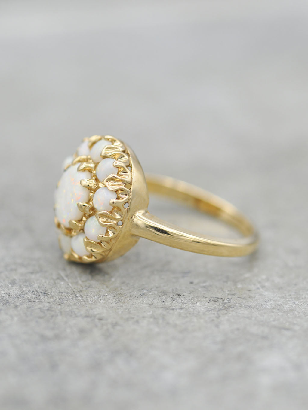14K Antique Victorian White Opal Cluster Ring