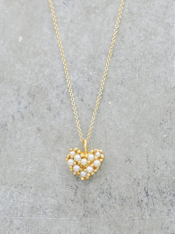 Antique 14K Freshwater Pearl Heart Necklace