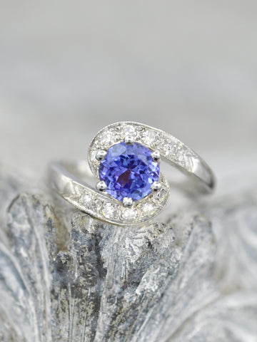 Antique Tanzanite + Diamond Swirl Ring