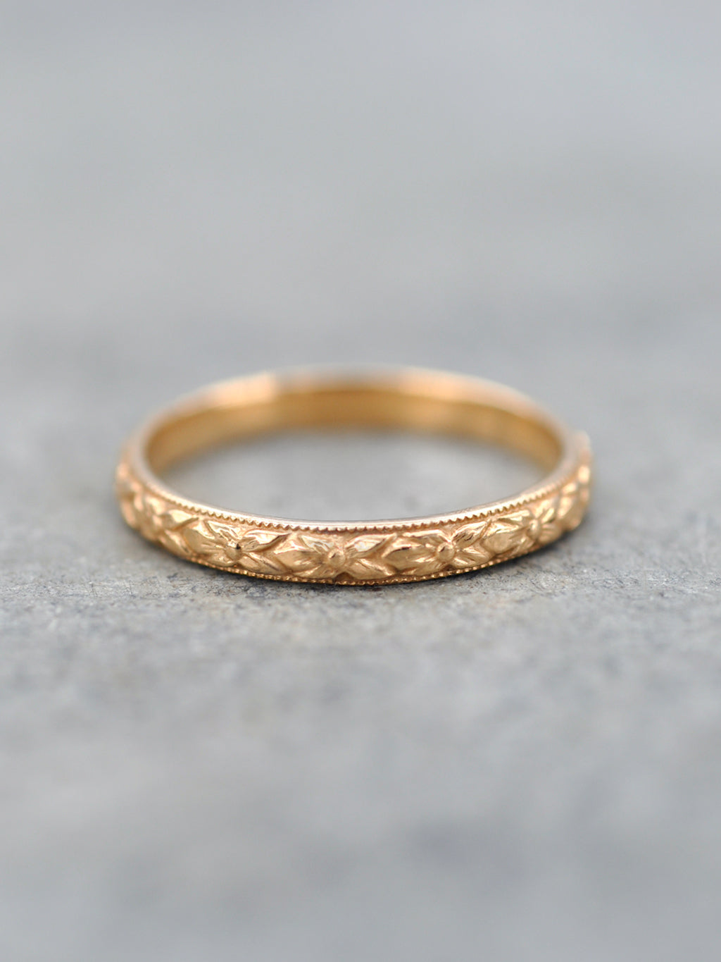 14K Antique Floral Engraved Band - Rose Gold