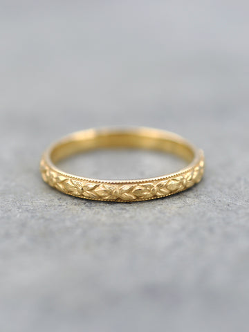14K Antique Floral Engraved Band - 2.8mm