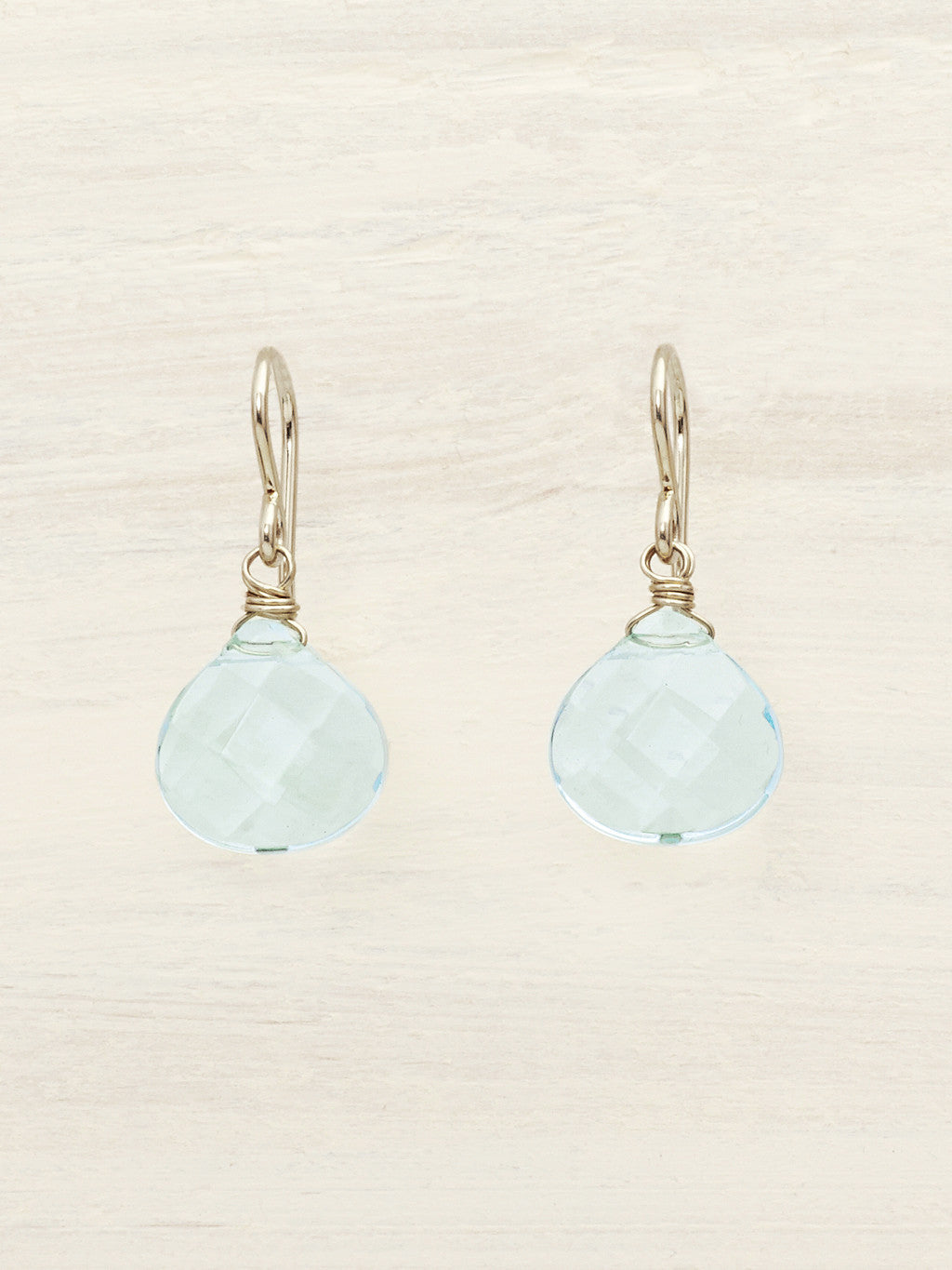 Aqua Quartz Teardrop Earrings - Silver
