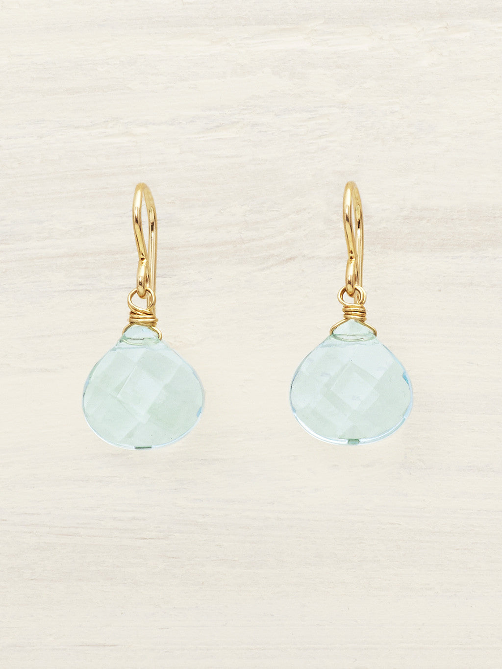 Aqua Quartz Teardrop Earrings - Gold