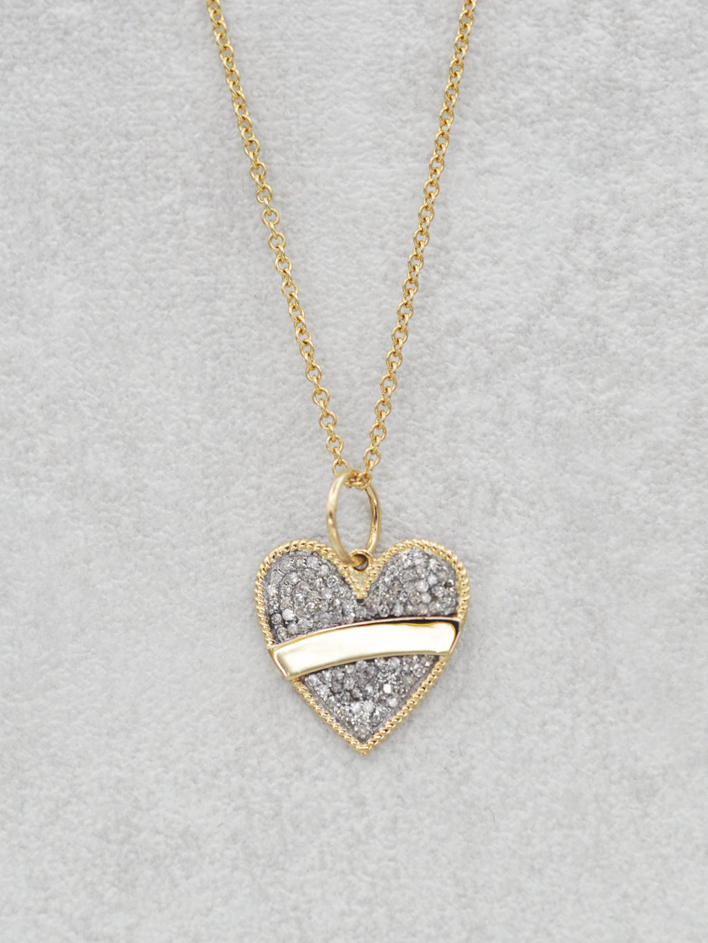 14K Diamond Banner Heart Necklace