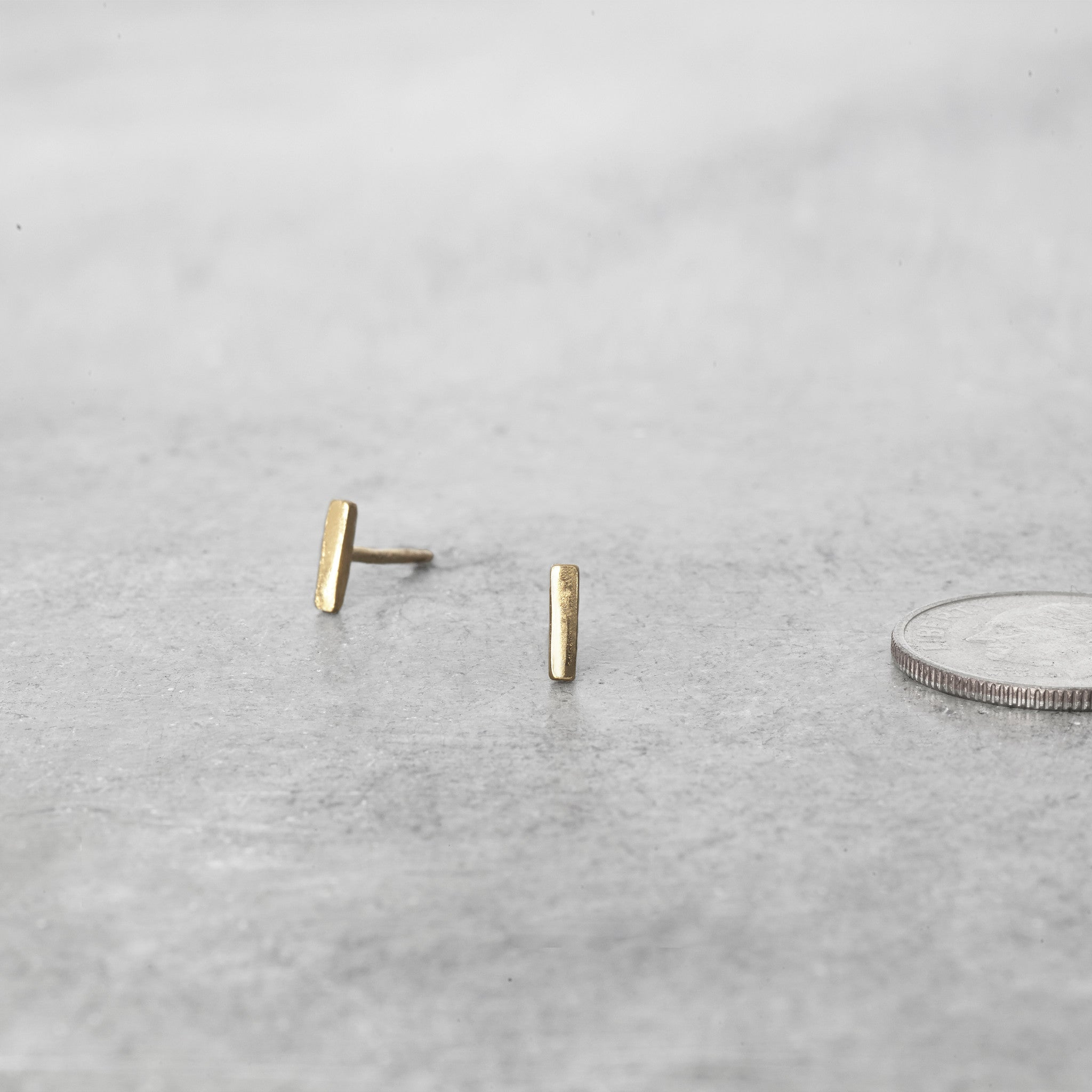 14K Straight Bar Post Earrings