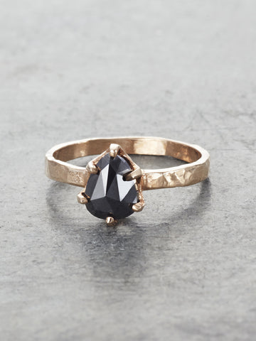 14K Rustic Black Diamond Pear Ring - LUNESSA