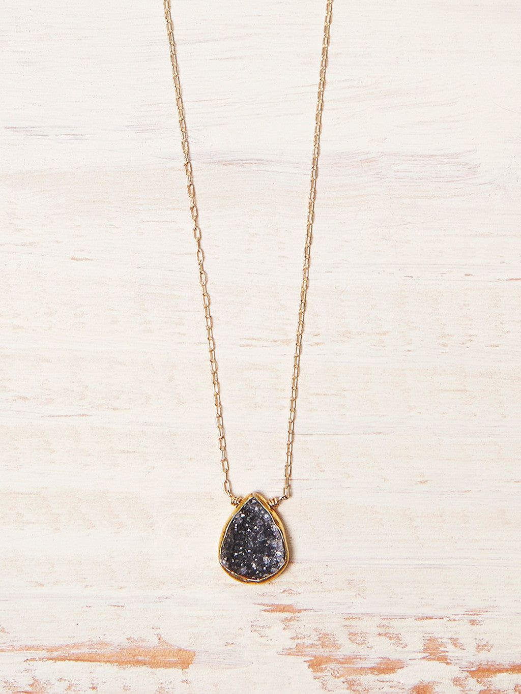 Black Rock Geode Necklace