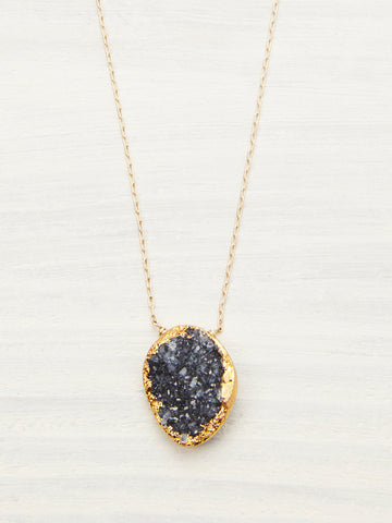 Freeform Black Druzy Geode Necklace