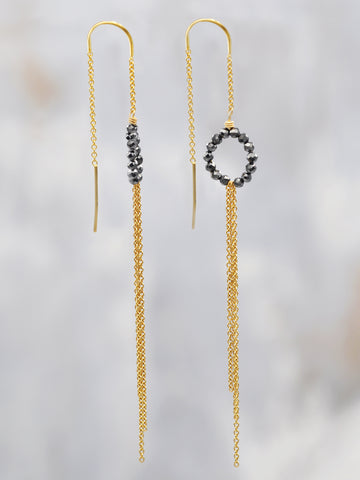 Black Spinel Fringe Threader Earrings