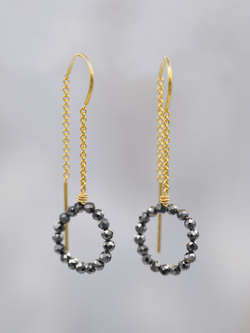 Black Spinel Threader Hoop Earrings GF