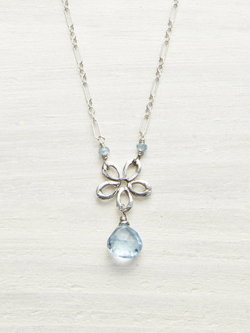 Blue Topaz Daisy Drop Necklace