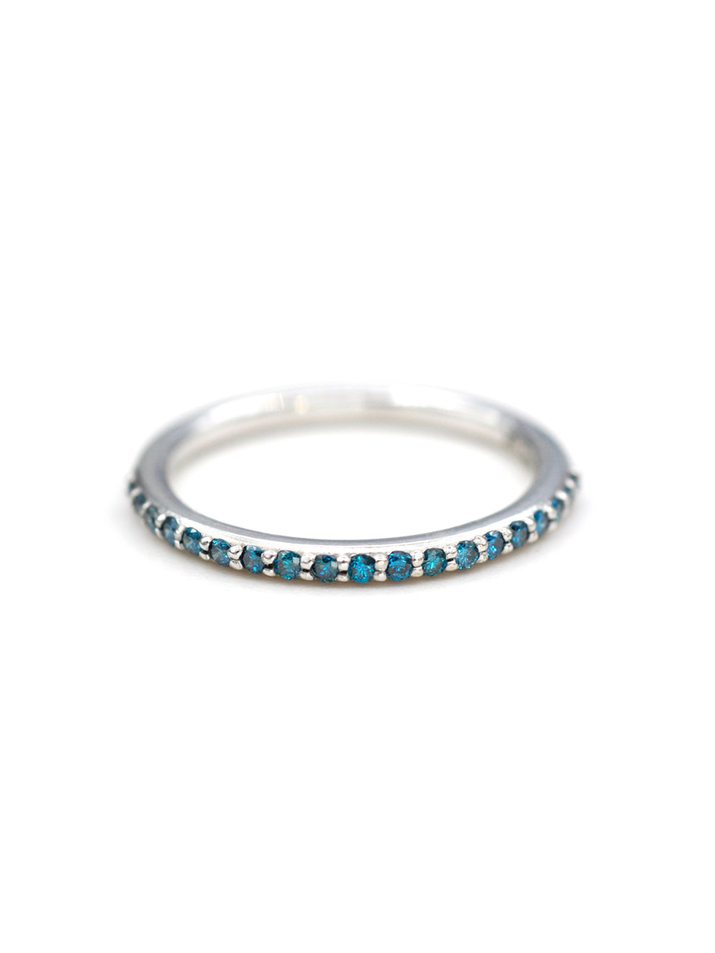 14K Half Eternity Blue Diamond Band