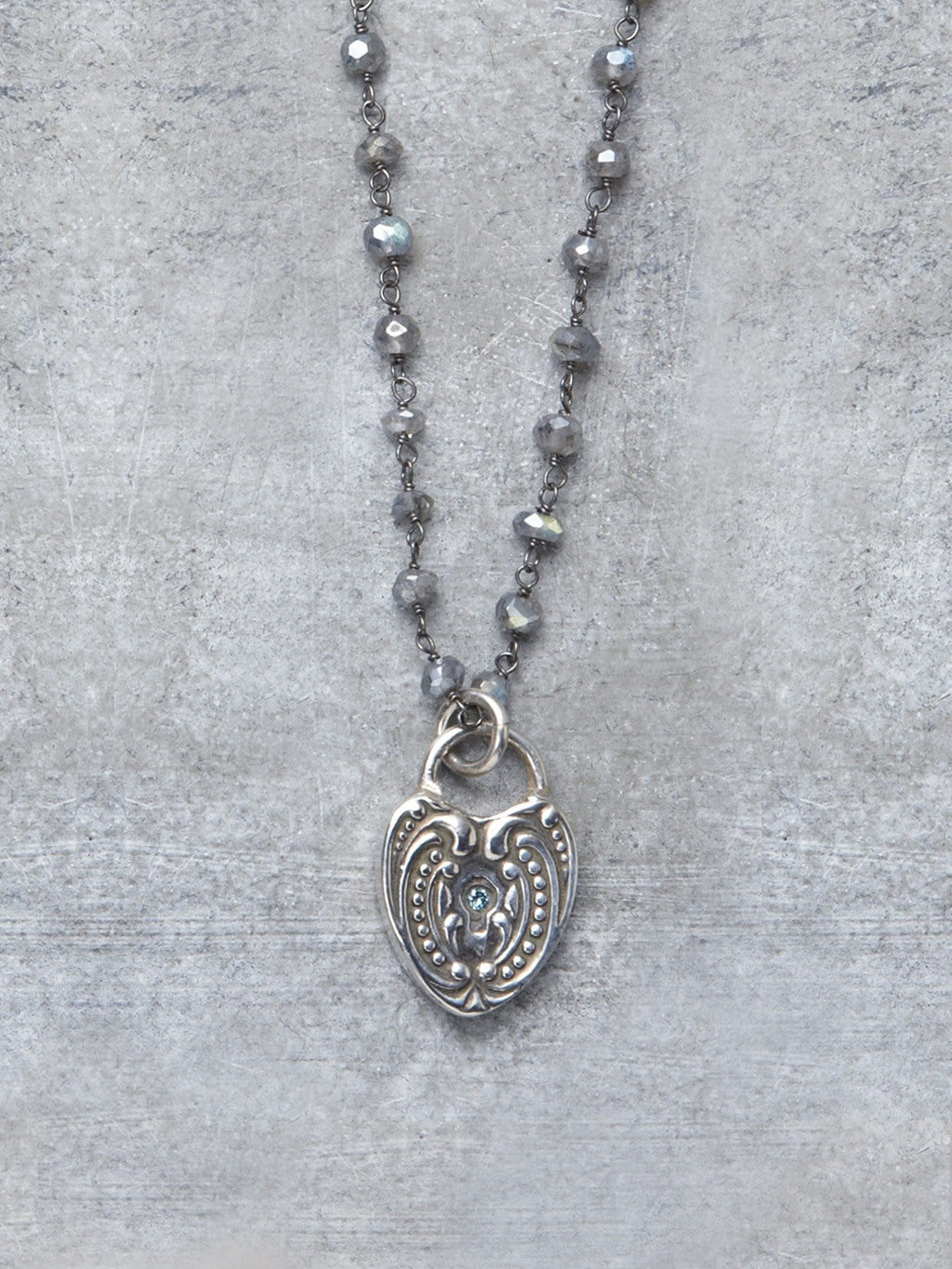 Antique Blue Diamond Heart Necklace