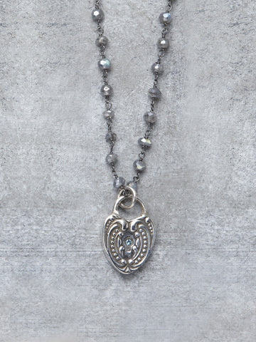 Antique Blue Diamond Heart Necklace - LUNESSA