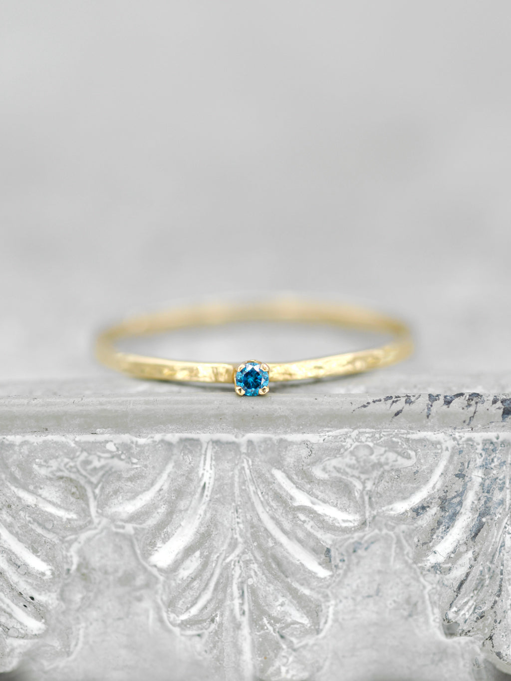 14K Blue Diamond Wish Ring