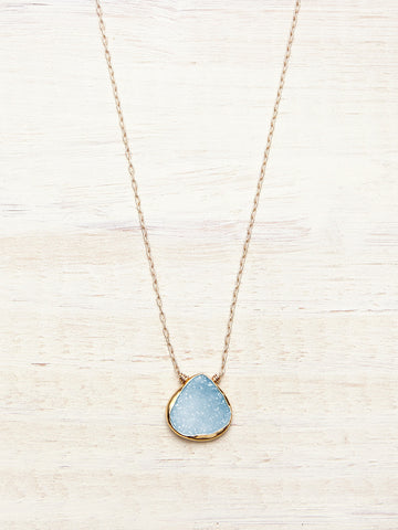 Baby Blue Druzy Necklace