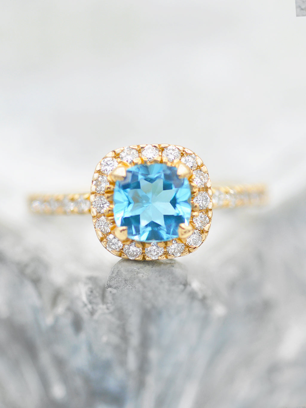 14K Heavenly Swiss Blue Topaz Halo Ring