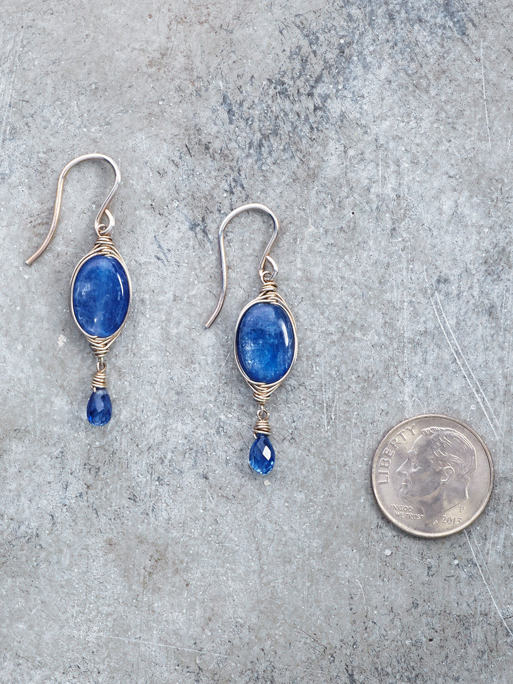 Silver Wrapped Kyanite Gem Earrings to scale