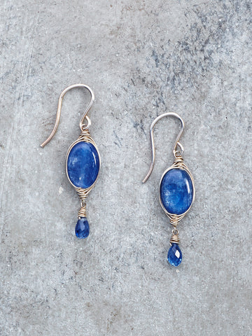 Silver Wrapped Kyanite Gem Earrings