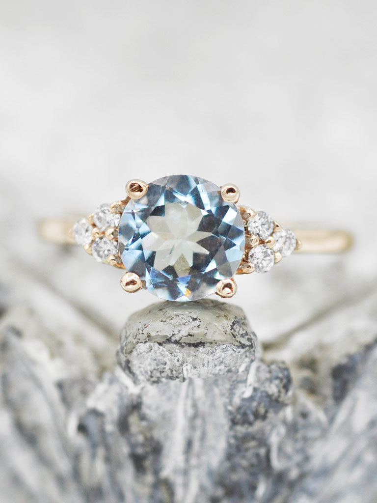 14K Caroline Aquamarine & Diamond Ring