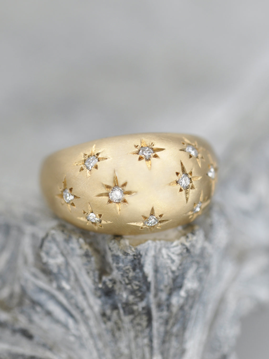14K Celestial Diamond Dome Ring - Matte Finish