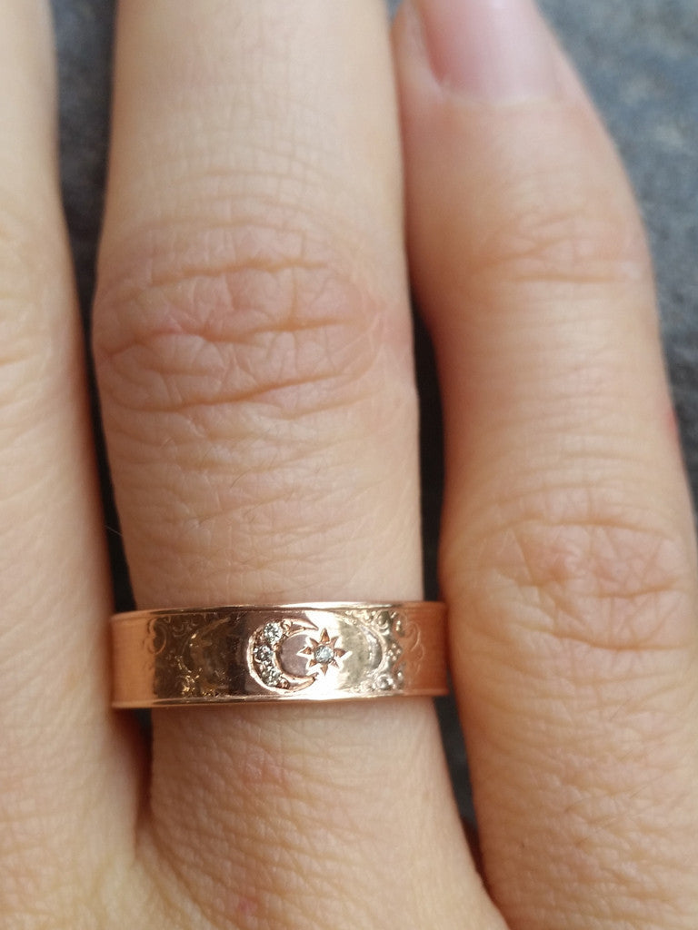 Rose Gold Moon goddess ring
