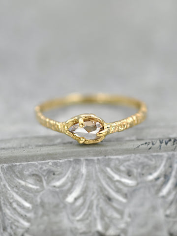 14K Rosecut Pear Champagne Diamond Ring
