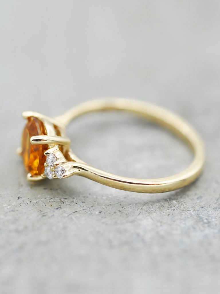 14K Caroline Citrine & Diamond Ring