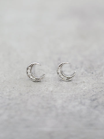 Sterling Crescent Moon Post Earrings - CZ