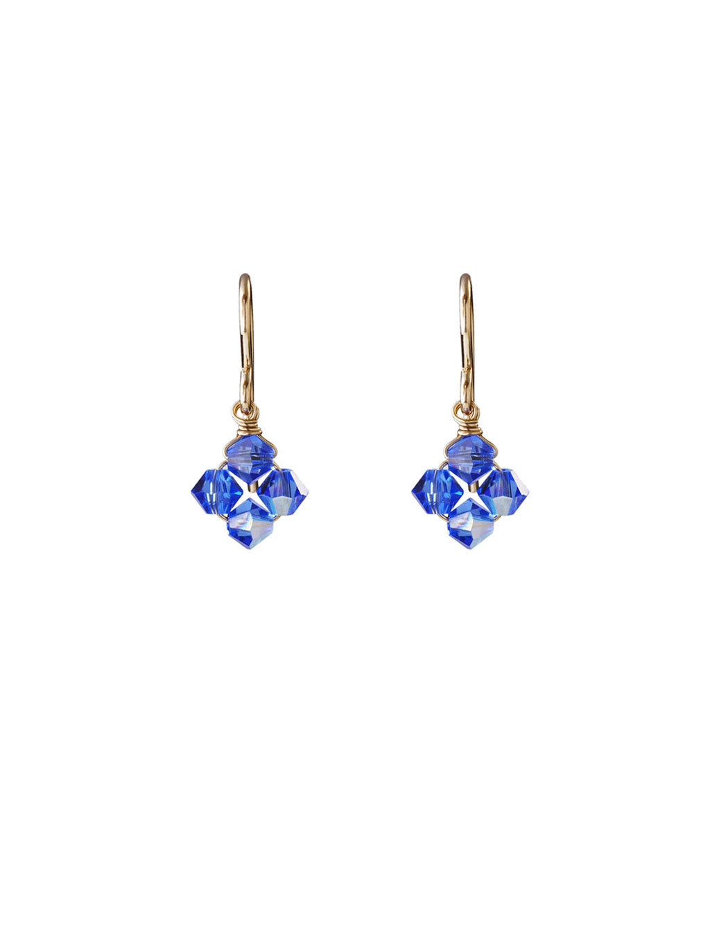 Crystal Diamond Clover Earrings - Capri Blue