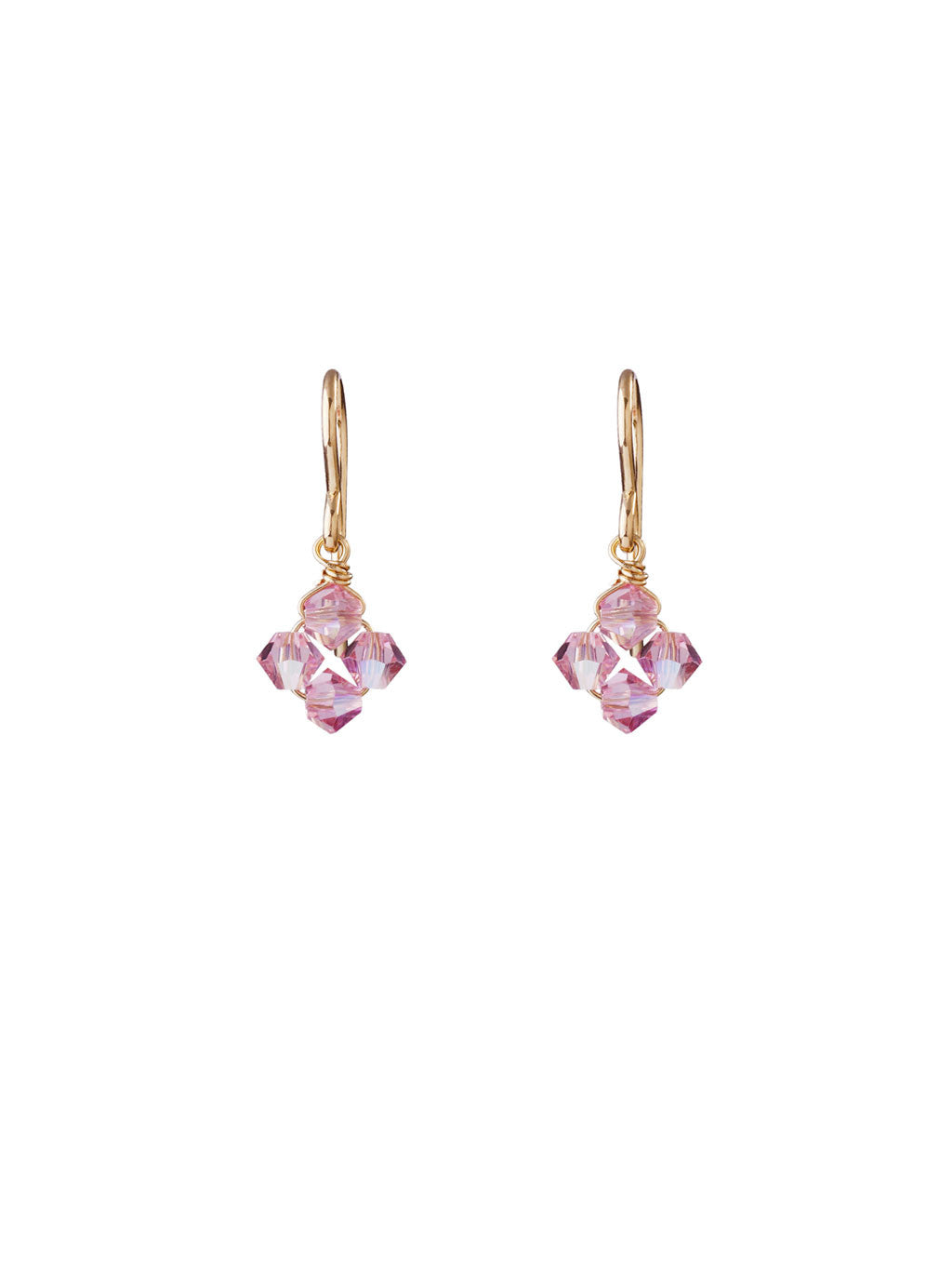 Crystal Diamond Clover Earrings - Light Rose