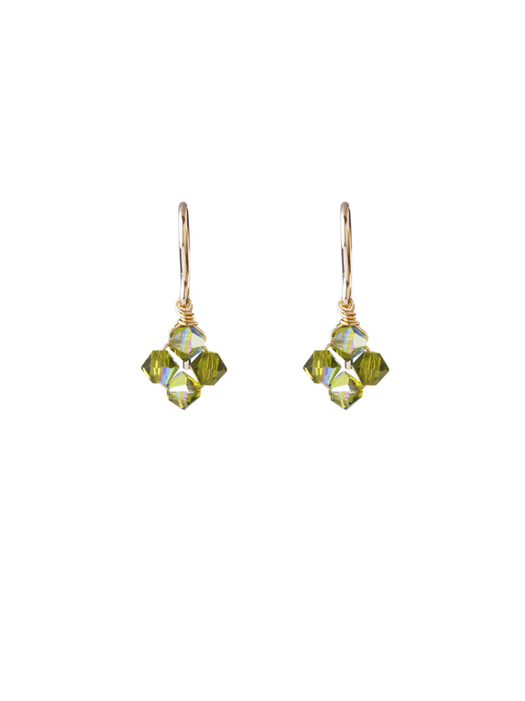 Crystal Diamond Clover Earrings - Olivine