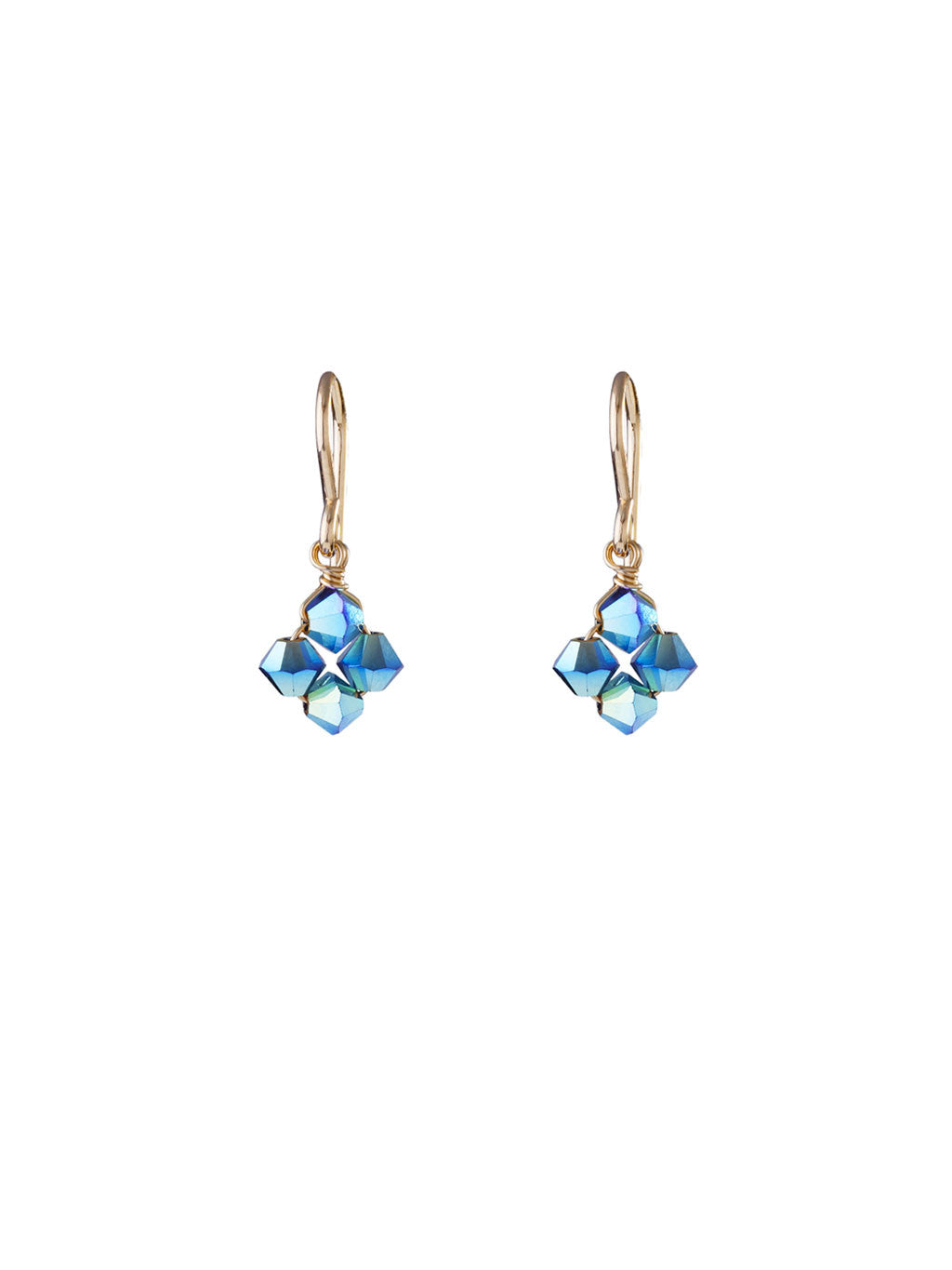 Crystal Diamond Clover Earrings - Peacock