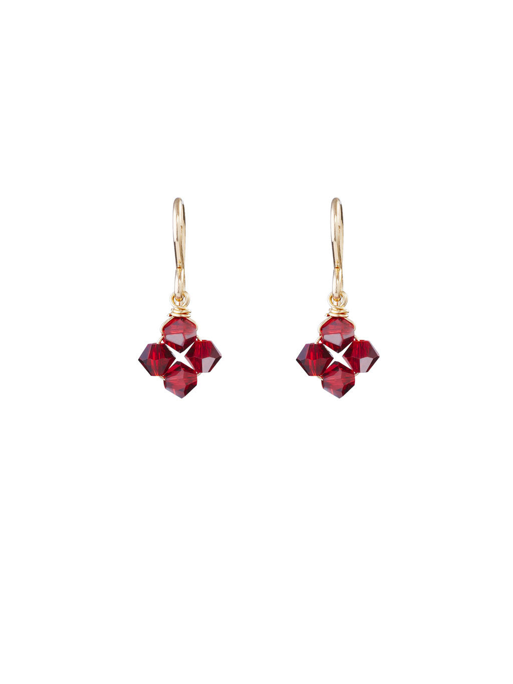 Crystal Diamond Clover Earrings - Scarlet
