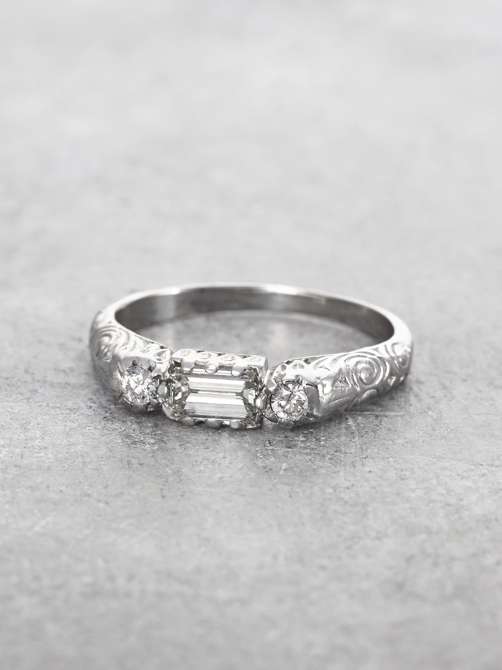 14K Empress Diamond Baguette Ring