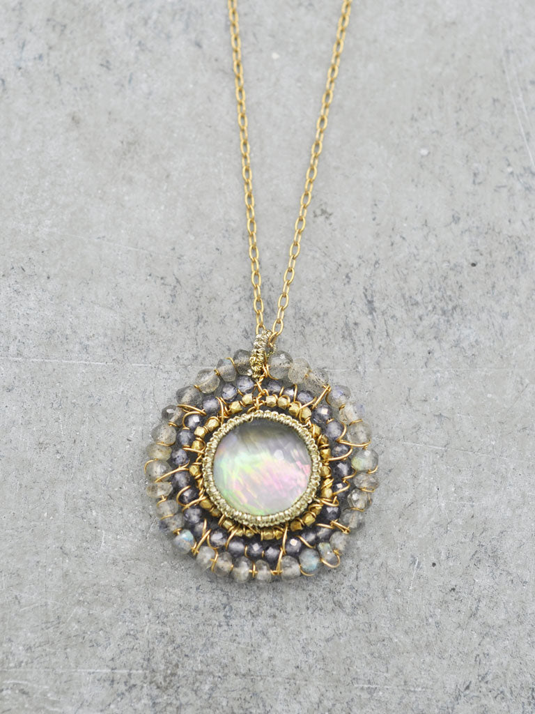 Crocheted Rainbow Mother of Pearl Necklace