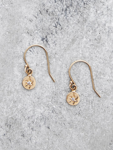 14K Bohemian Diamond Star Dangle Earrings