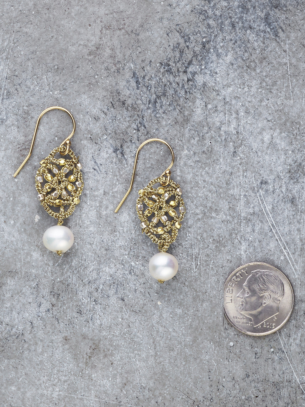 Danielle Welmond Freshwater Pearl Woven Earrings