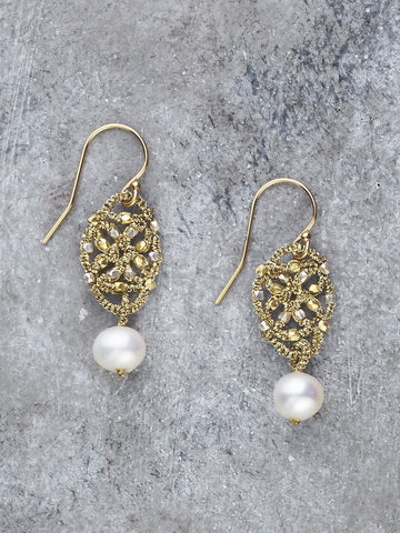 Danielle Welmond Woven Gold Thread Pearl Earrings