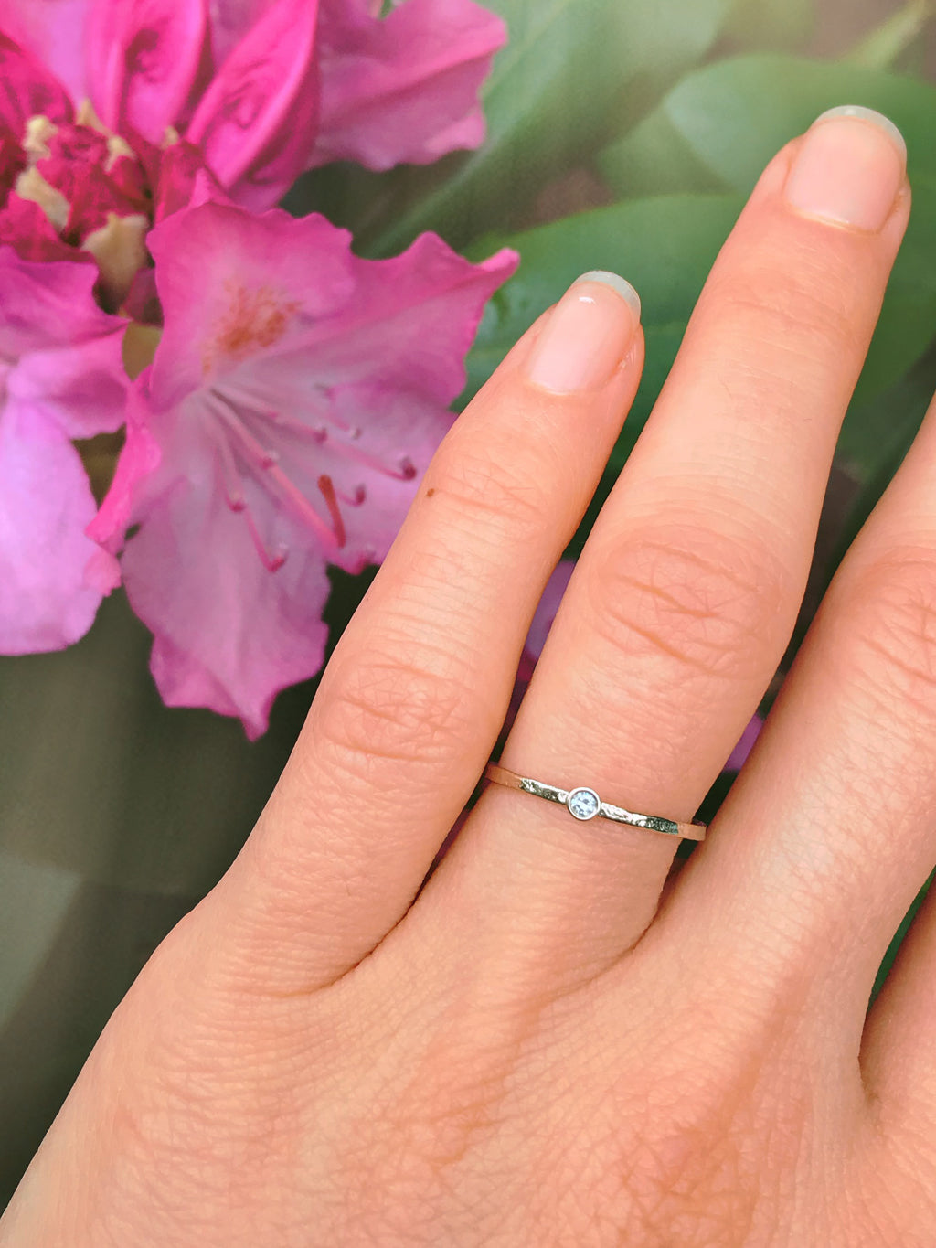 Delicate Diamond Solitaire Stacking Rings