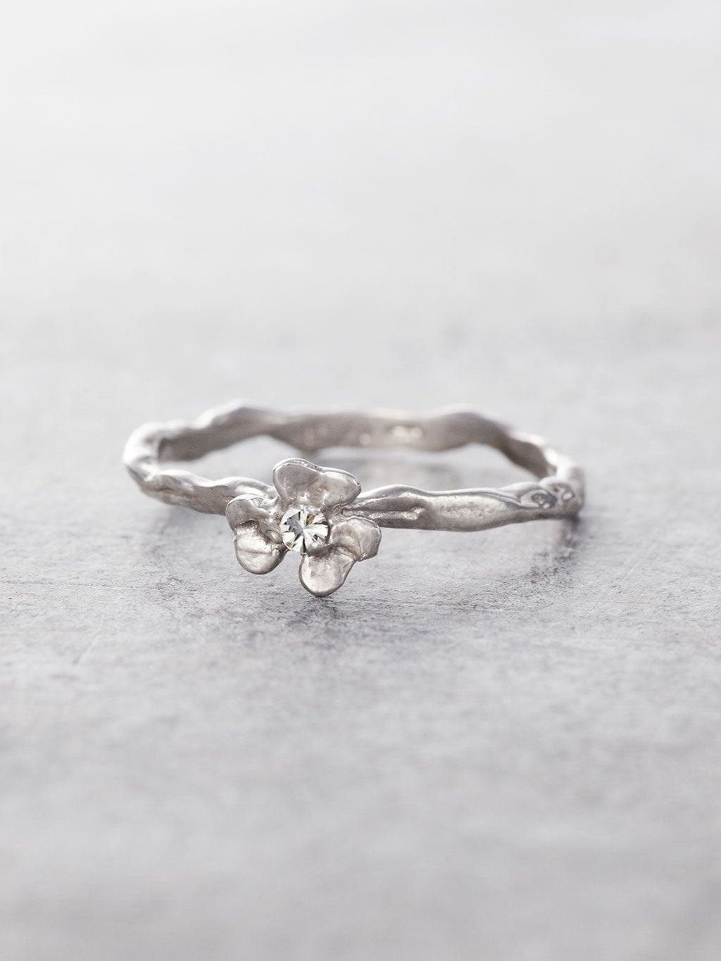 Diamond Clover Twig Ring
