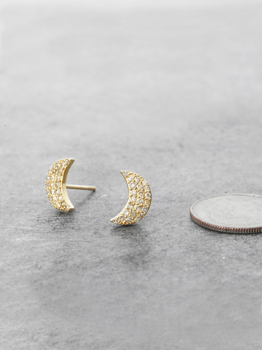 14K Pave Diamond Crescent Moon Posts to scale